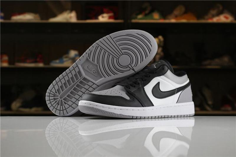 Air Jordan 1 Low Men Casual Shoes White Black Grey