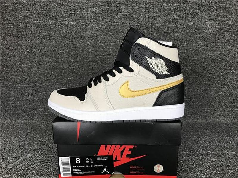 Air Jordan 1 Retro High OG Men Casual Shoes Black Pink Gold