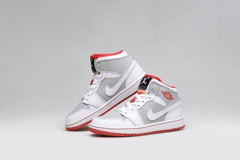 Air Jordan 1 Retro High Unisex Casual Shoes Grey White Red
