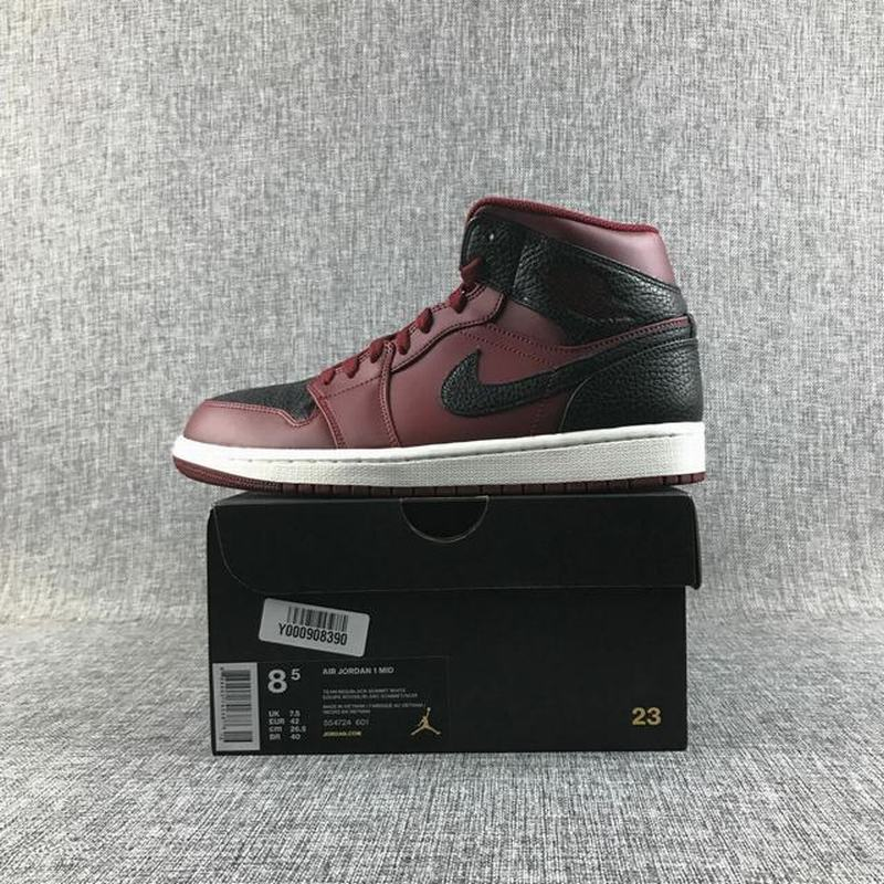 Air Jordan 1 Retro Mid Men Casual Shoes Black Wine Red