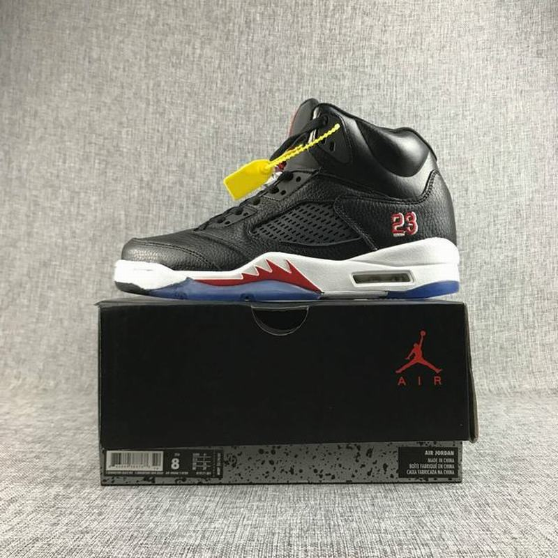 Air Jordan 5 Men Casual Shoes Black White Red