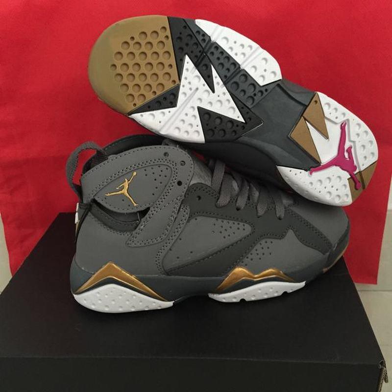 Air Jordan 7 Unisex Casual Shoes Black Grey Gold